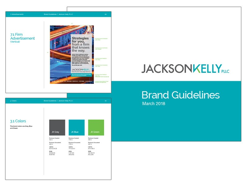 Jackson Kelly Law Firm Logo and Rebranding Brand Standards Guide Developed by Herrmann Advertising